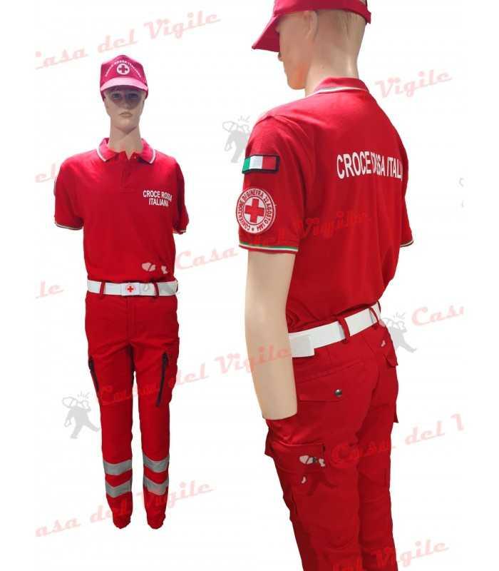 Divisa estiva Pantalone Polo Manica Corta Berretto tipo Baseball e Cintura CROCE ROSSA ITALIANA